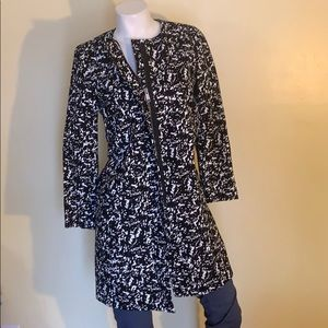 J Crew Black and White fully lined cotton coat.